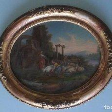 Arte: OLEO SOBRE TELA ESCENA CAMPESTRE ENMARCADO ORIGEN SIGLO XVIII. 42X34 CM.. Lote 92280785