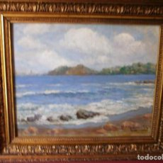 Arte: PAISAJE COSTERO - GUILLERMO GÓMEZ GIL (1862 - 1942) - OLEO SOBRE TABLA O CARTÓN.. Lote 92327375