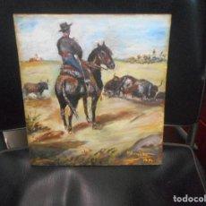 Arte: OLEO SOBRE TABLA ESCENA TAURINA TOROS TAUROMAQUIA. Lote 92423245