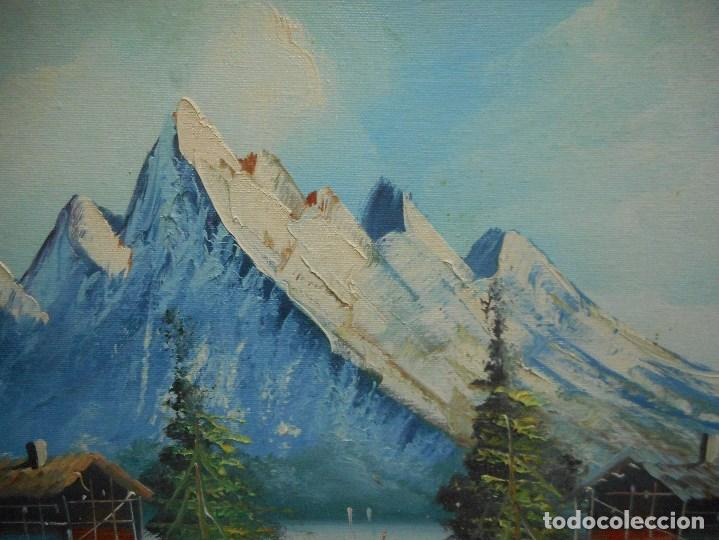 Arte: cuadro pintura oleo sobre lienzo paisaje montaña lago casa con firma firmado - Foto 2 - 92439535