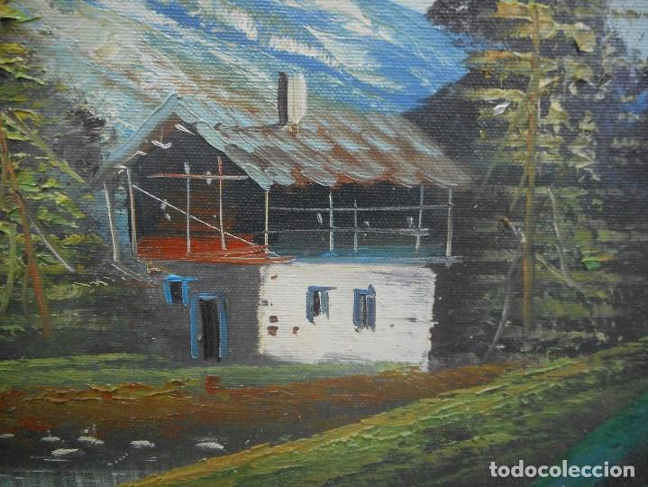 Arte: cuadro pintura oleo sobre lienzo paisaje montaña lago casa con firma firmado - Foto 3 - 92439535