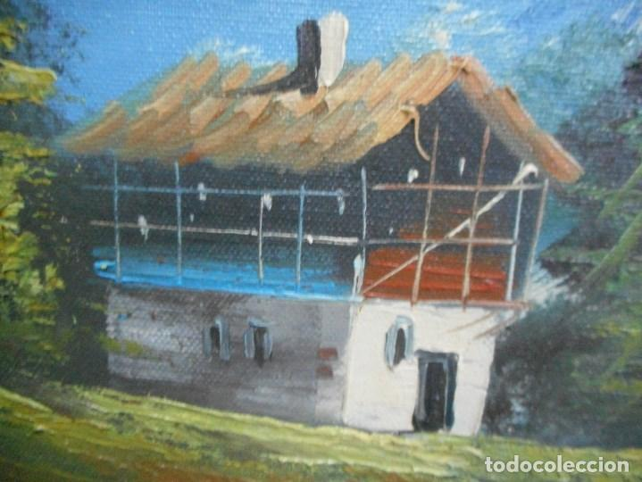 Arte: cuadro pintura oleo sobre lienzo paisaje montaña lago casa con firma firmado - Foto 4 - 92439535