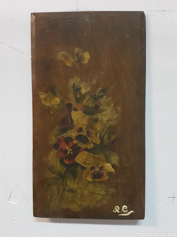 ANTIGUO OLEO SOBRE TABLA, MOTIVOS FLORALES, FIRMADO R.C. 23X43CM (Arte - Pintura - Pintura al Óleo Contemporánea )