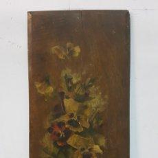 Arte: ANTIGUO OLEO SOBRE TABLA, MOTIVOS FLORALES, FIRMADO R.C. 23X43CM. Lote 92737992