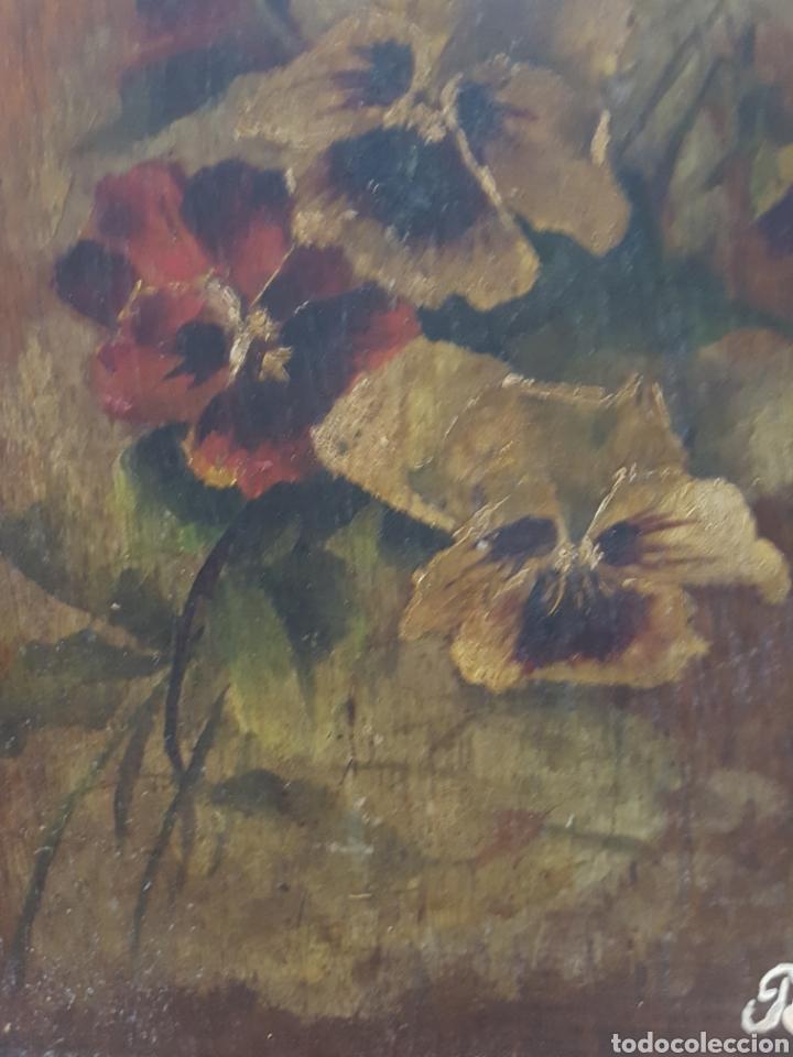 Arte: ANTIGUO OLEO SOBRE TABLA, MOTIVOS FLORALES, FIRMADO R.C. 23x43cm - Foto 2 - 92737992