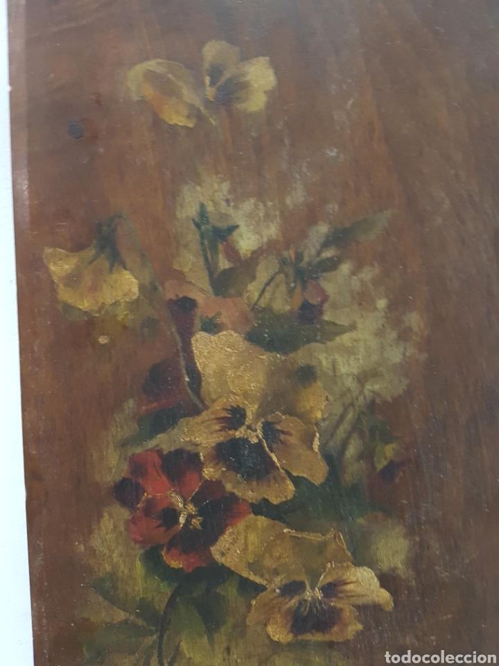 Arte: ANTIGUO OLEO SOBRE TABLA, MOTIVOS FLORALES, FIRMADO R.C. 23x43cm - Foto 4 - 92737992