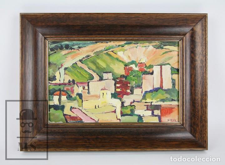 PINTURA AL ÓLEO SOBRE TABLA - FIRMADO M. RICH - VISTA DE PUEBLO - AÑOS 50-60 - MEDIDAS 48 X 35 CM (Arte - Pintura - Pintura al Óleo Contemporánea )