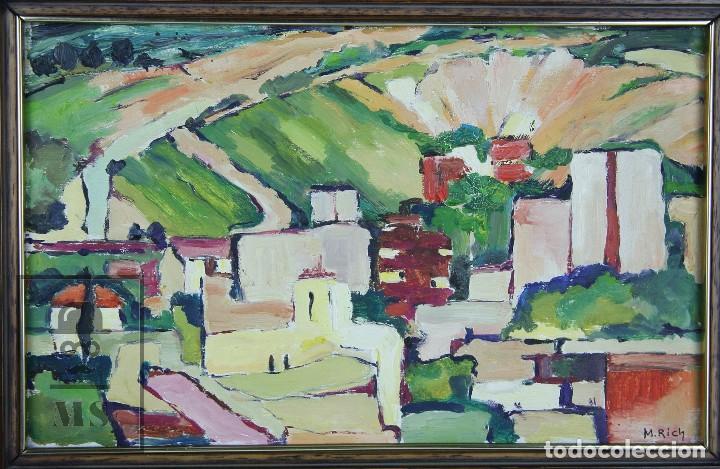Arte: Pintura al Óleo Sobre Tabla - Firmado M. Rich - Vista de Pueblo - Años 50-60 - Medidas 48 x 35 cm - Foto 2 - 92977360