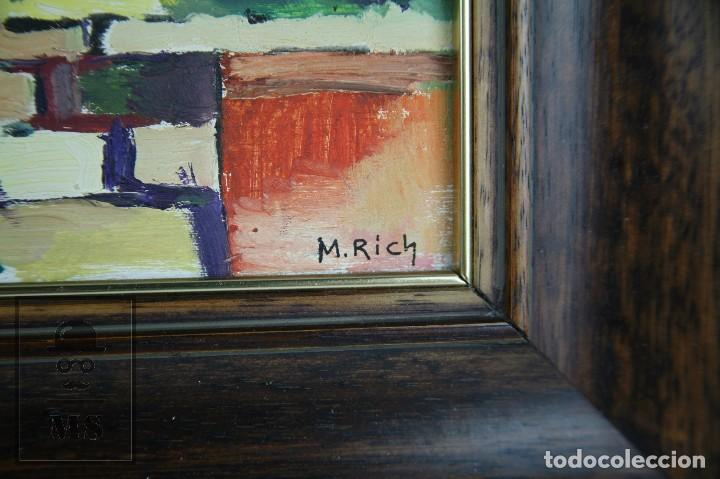 Arte: Pintura al Óleo Sobre Tabla - Firmado M. Rich - Vista de Pueblo - Años 50-60 - Medidas 48 x 35 cm - Foto 3 - 92977360