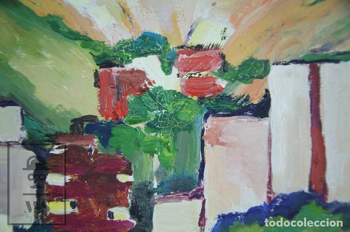 Arte: Pintura al Óleo Sobre Tabla - Firmado M. Rich - Vista de Pueblo - Años 50-60 - Medidas 48 x 35 cm - Foto 4 - 92977360