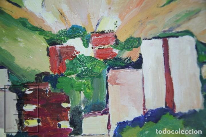 Arte: Pintura al Óleo Sobre Tabla - Firmado M. Rich - Vista de Pueblo - Años 50-60 - Medidas 48 x 35 cm - Foto 6 - 92977360