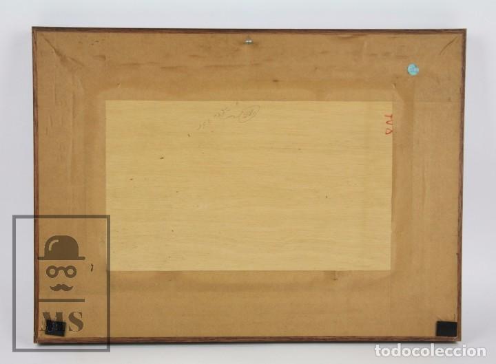 Arte: Pintura al Óleo Sobre Tabla - Firmado M. Rich - Vista de Pueblo - Años 50-60 - Medidas 48 x 35 cm - Foto 7 - 92977360