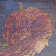 Arte: ESPECTACULAR CUADRO ANTIGUO PINTURA AL OLEO S XVII - XVIII MUJER CON PAÑUELO FIRMADO, A ESTUDIAR. Lote 93198490