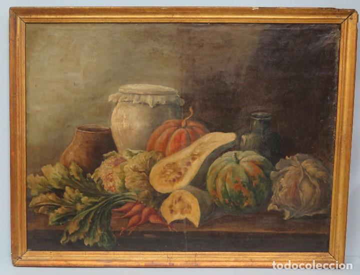 BODEGON. OLEO S/ LIENZO. ESCUELA ESPAÑOLA. MARCO DE EPOCA. SIGLO XVIII (Arte - Pintura - Pintura al Óleo Antigua siglo XVIII)