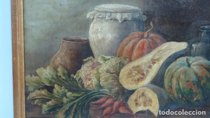 Arte: BODEGON. OLEO S/ LIENZO. ESCUELA ESPAÑOLA. MARCO DE EPOCA. SIGLO XVIII - Foto 4 - 93204485