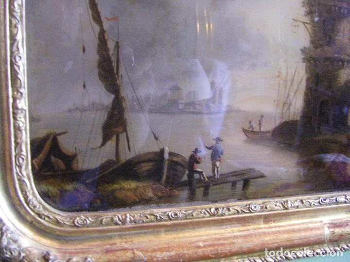 Arte: oleo en lienzo pegado en un cristal curvo del siglo XIX paisaje europeo marco oro fino - Foto 2 - 93242630