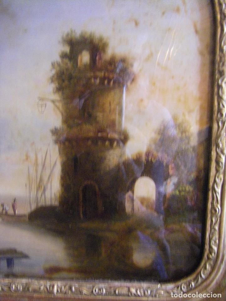 Arte: oleo en lienzo pegado en un cristal curvo del siglo XIX paisaje europeo marco oro fino - Foto 3 - 93242630