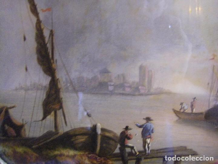 Arte: oleo en lienzo pegado en un cristal curvo del siglo XIX paisaje europeo marco oro fino - Foto 4 - 93242630