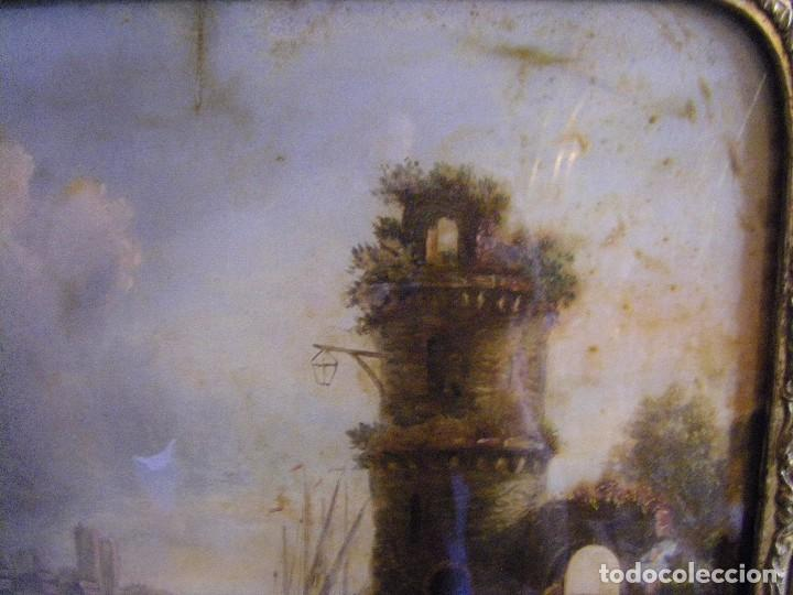 Arte: oleo en lienzo pegado en un cristal curvo del siglo XIX paisaje europeo marco oro fino - Foto 5 - 93242630