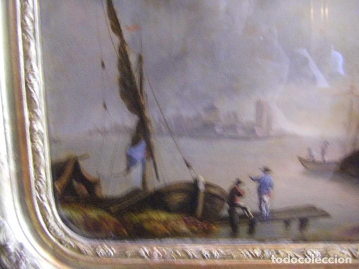 Arte: oleo en lienzo pegado en un cristal curvo del siglo XIX paisaje europeo marco oro fino - Foto 6 - 93242630