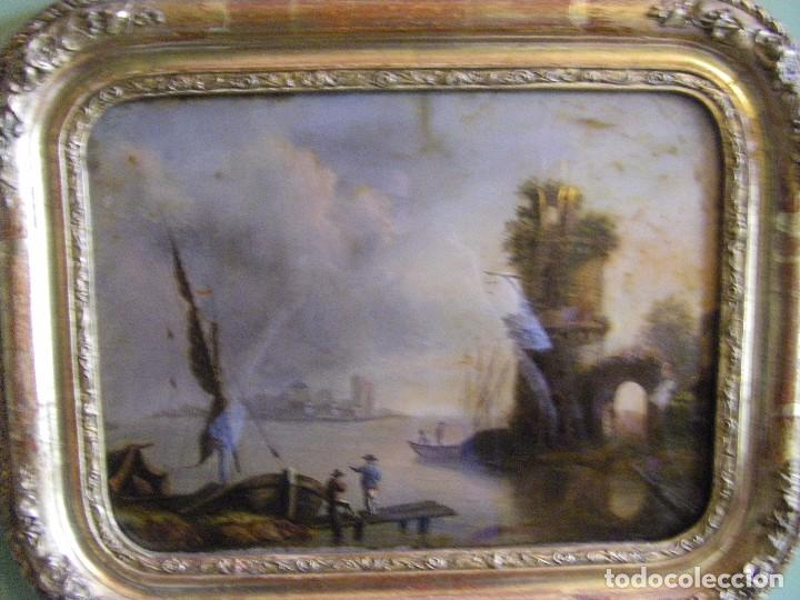 Arte: oleo en lienzo pegado en un cristal curvo del siglo XIX paisaje europeo marco oro fino - Foto 7 - 93242630