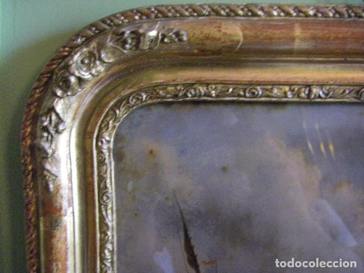 Arte: oleo en lienzo pegado en un cristal curvo del siglo XIX paisaje europeo marco oro fino - Foto 8 - 93242630