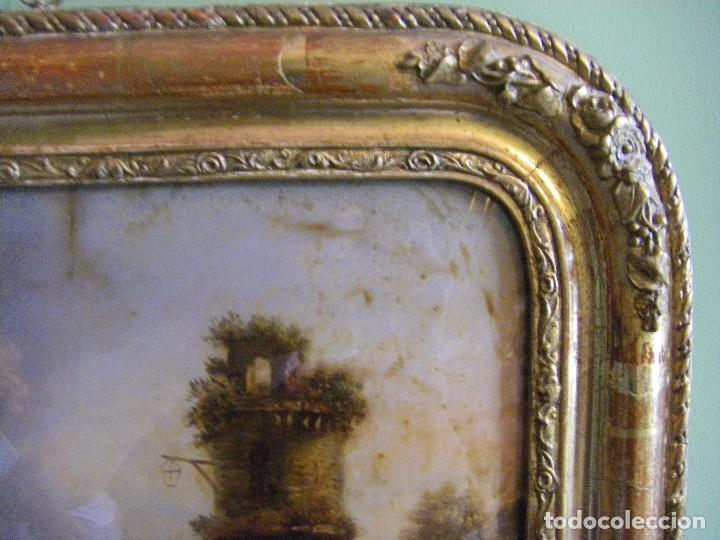 Arte: oleo en lienzo pegado en un cristal curvo del siglo XIX paisaje europeo marco oro fino - Foto 9 - 93242630