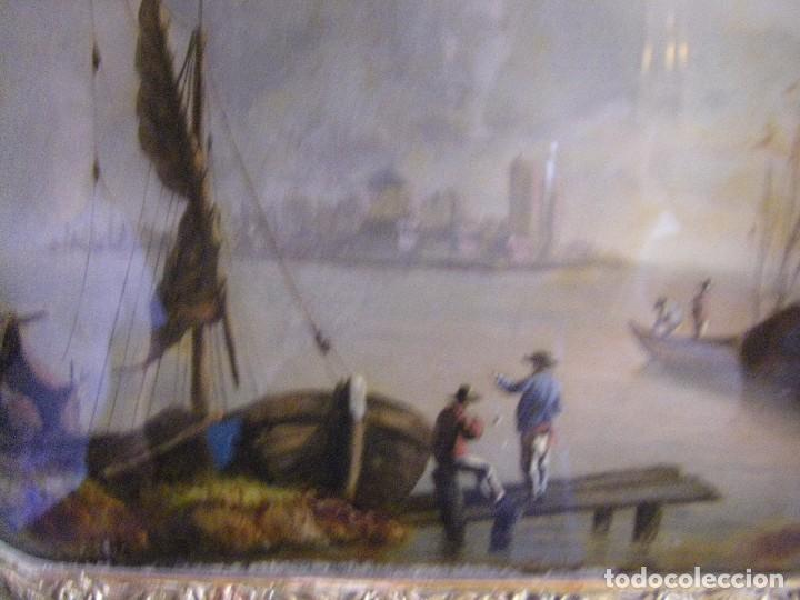 Arte: oleo en lienzo pegado en un cristal curvo del siglo XIX paisaje europeo marco oro fino - Foto 10 - 93242630
