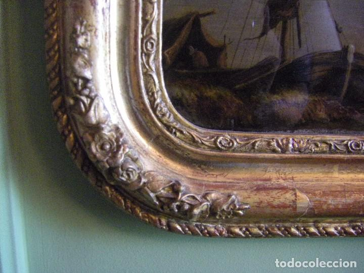 Arte: oleo en lienzo pegado en un cristal curvo del siglo XIX paisaje europeo marco oro fino - Foto 11 - 93242630