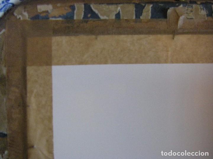 Arte: oleo en lienzo pegado en un cristal curvo del siglo XIX paisaje europeo marco oro fino - Foto 13 - 93242630