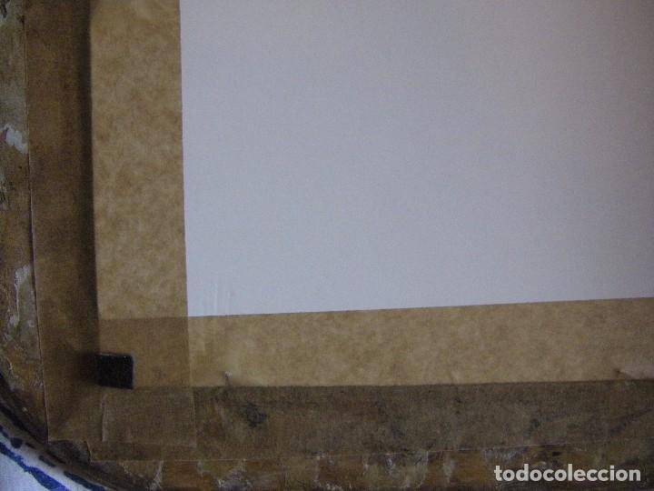 Arte: oleo en lienzo pegado en un cristal curvo del siglo XIX paisaje europeo marco oro fino - Foto 14 - 93242630