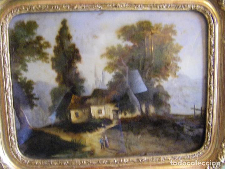 Arte: oleo en lienzo pegado en un cristal curvo del siglo XIX paisaje europeo marco oro fino - Foto 15 - 93242630
