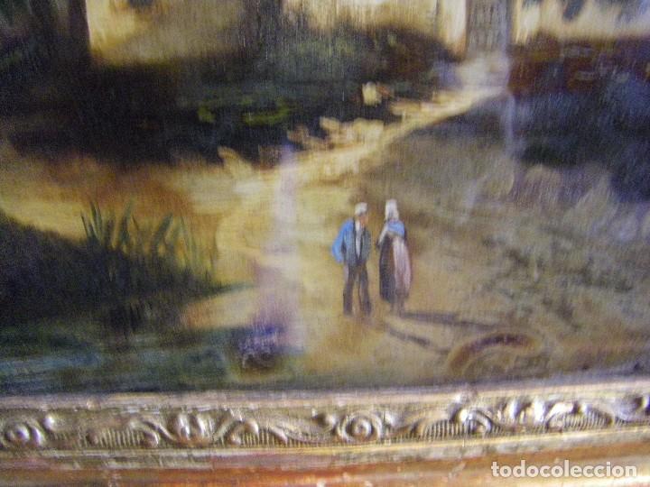 Arte: oleo en lienzo pegado en un cristal curvo del siglo XIX paisaje europeo marco oro fino - Foto 16 - 93242630