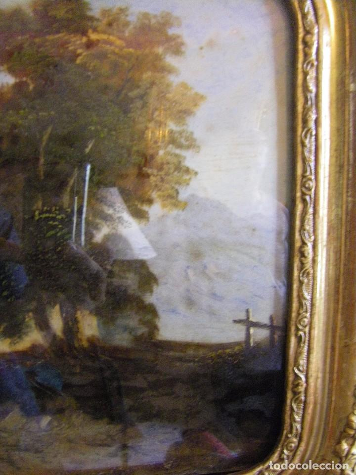 Arte: oleo en lienzo pegado en un cristal curvo del siglo XIX paisaje europeo marco oro fino - Foto 17 - 93242630