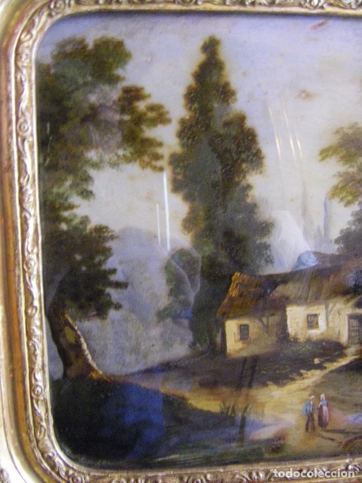 Arte: oleo en lienzo pegado en un cristal curvo del siglo XIX paisaje europeo marco oro fino - Foto 18 - 93242630