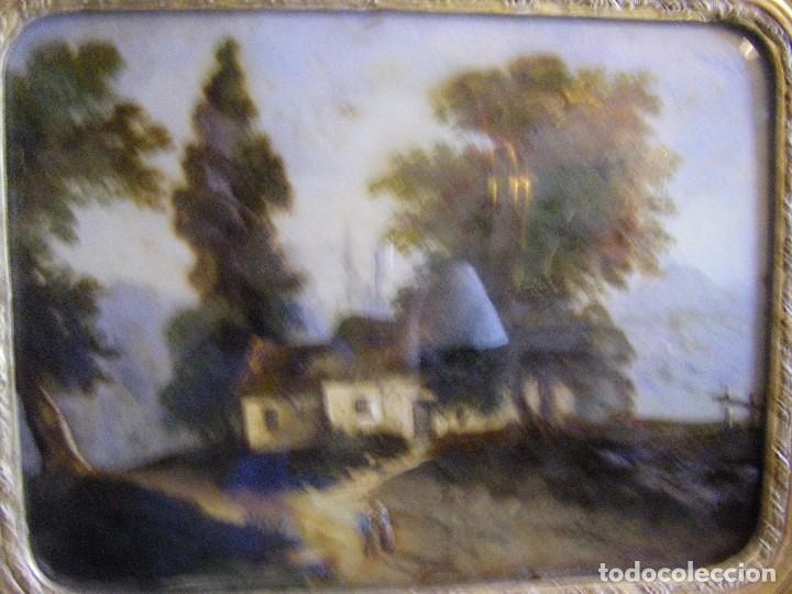 Arte: oleo en lienzo pegado en un cristal curvo del siglo XIX paisaje europeo marco oro fino - Foto 19 - 93242630