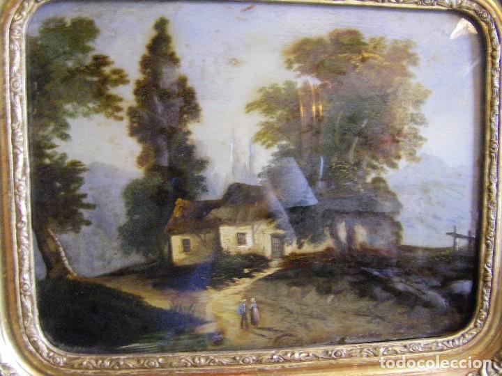 Arte: oleo en lienzo pegado en un cristal curvo del siglo XIX paisaje europeo marco oro fino - Foto 20 - 93242630