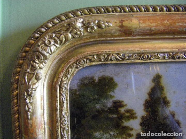 Arte: oleo en lienzo pegado en un cristal curvo del siglo XIX paisaje europeo marco oro fino - Foto 21 - 93242630