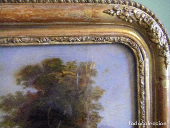 Arte: oleo en lienzo pegado en un cristal curvo del siglo XIX paisaje europeo marco oro fino - Foto 22 - 93242630
