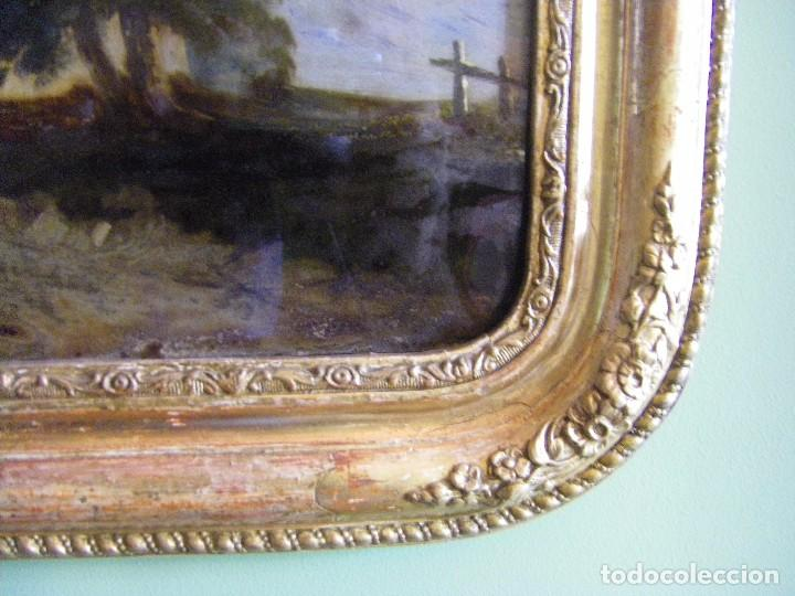 Arte: oleo en lienzo pegado en un cristal curvo del siglo XIX paisaje europeo marco oro fino - Foto 23 - 93242630