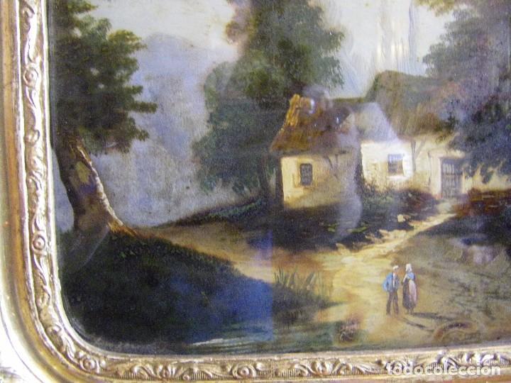 Arte: oleo en lienzo pegado en un cristal curvo del siglo XIX paisaje europeo marco oro fino - Foto 24 - 93242630