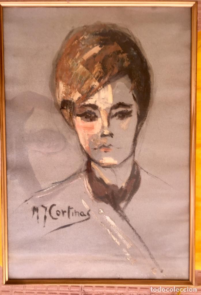 CUADRO AL OLEO MARIA JOAQUINA CORTINAS ESCUELA GUTIERREZ NAVAS RETRATO MUJER ENMARCADO Y CON CRISTAL (Arte - Pintura - Pintura al Óleo Contemporánea )