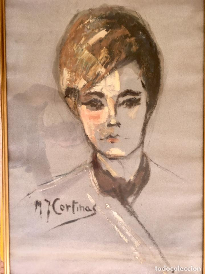 Arte: Cuadro al oleo maria joaquina cortinas escuela gutierrez navas retrato mujer enmarcado y con cristal - Foto 2 - 93251455