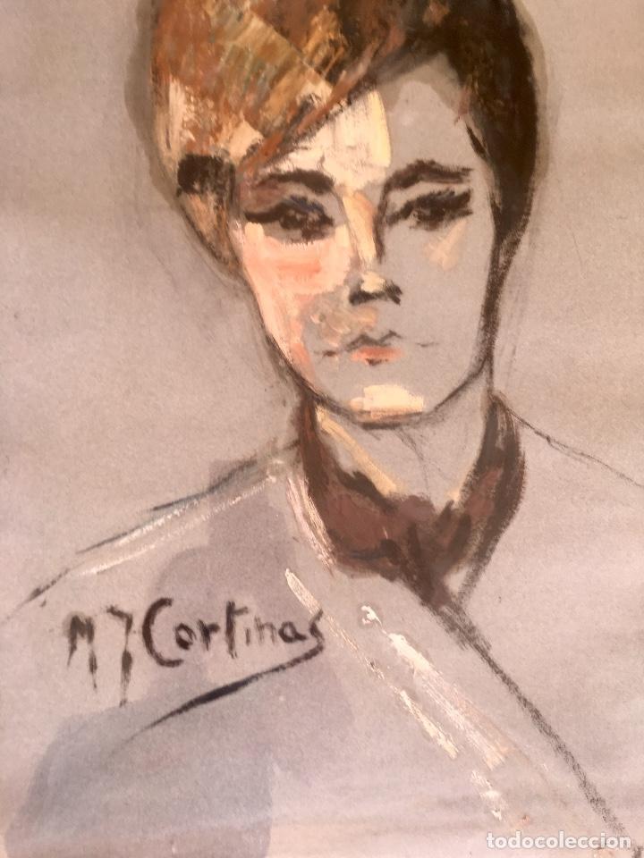 Arte: Cuadro al oleo maria joaquina cortinas escuela gutierrez navas retrato mujer enmarcado y con cristal - Foto 8 - 93251455
