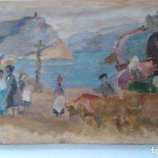 Arte: PINTUTA AL ÓLEO SOBRE TABLA, VISTA DE LEQUEITIO. FIRMADA URBINA. Lote 93265600