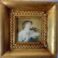 Arte: ANTIGUA MINIATURA PINTADA SOBRE MARFIL DE FINALES DEL SIGLO XVIII , MITOLOGICA . Lote 93271560