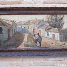 Arte: CUADRO PINTADO AL OLEO CON MARCO DE MADERA GRUESA TALLADA. Lote 139460696