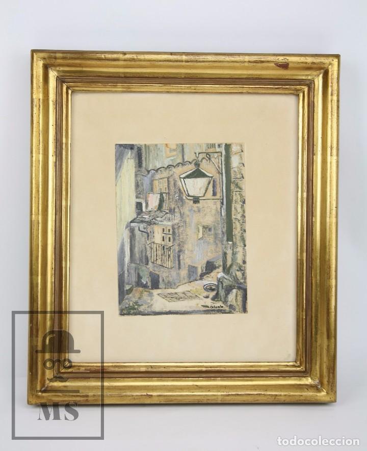 PINTURA CON GOUACHE SOBRE PAPEL - CALLE DE CIUDAD, FIRMADA COLOMBO - MEDIDAS 38 X 42,5 CM (Arte - Pintura Directa del Autor)