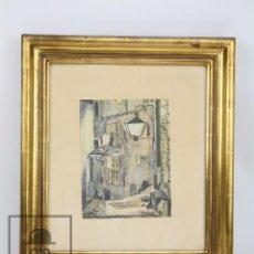 Arte: PINTURA CON GOUACHE SOBRE PAPEL - CALLE DE CIUDAD, FIRMADA COLOMBO - MEDIDAS 38 X 42,5 CM. Lote 93326415