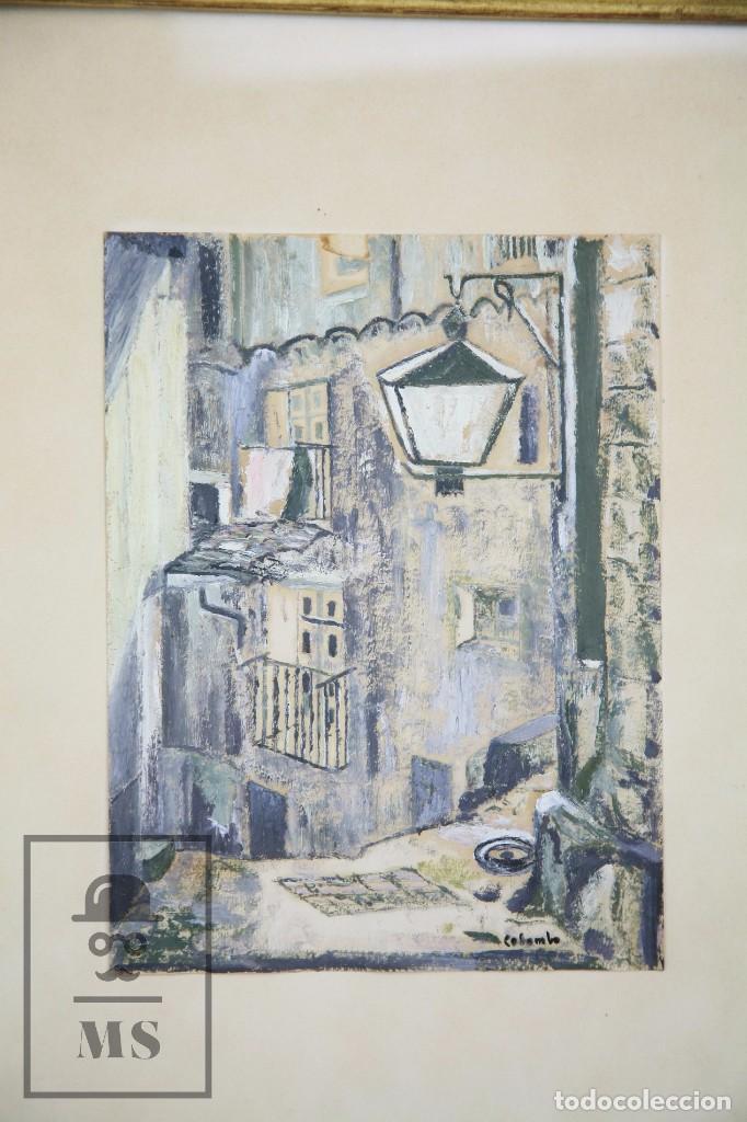 Arte: Pintura con Gouache Sobre Papel - Calle de Ciudad, Firmada Colombo - Medidas 38 x 42,5 cm - Foto 2 - 93326415